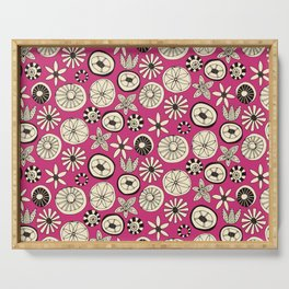 summer flowers pink Serving Tray