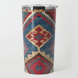 Vintage Woven Kilim // 19th Century Colorful Royal Blue Yellow Authentic Classic Ornate Accent Patte Travel Mug