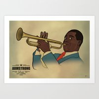 louis armstrong Art Prints featuring Louis Armstrong by Borja Espasa