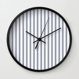 Dark Sargasso Blue Mattress Ticking Wide Striped Pattern - Fall Fashion 2018 Wall Clock