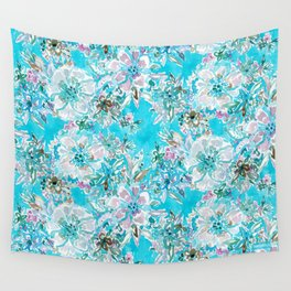 BEACH BABE Aqua Watercolor Floral Wall Tapestry