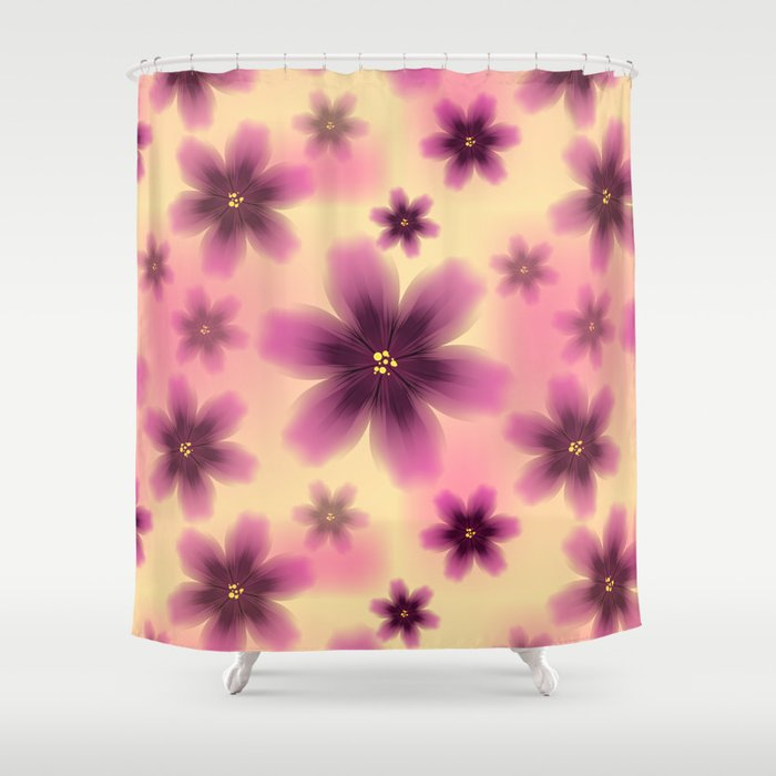 Colorful floral pattern with exotic tropical purple flowers Shower Curtain