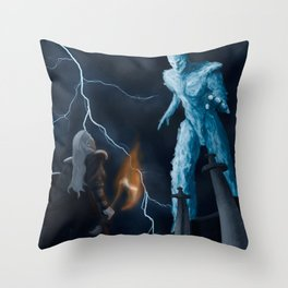 Viking woman against the Ice Giant Throw Pillow