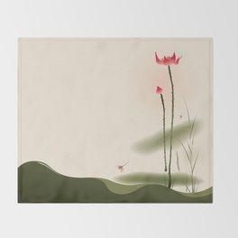 Oriental Lotus 002 Throw Blanket