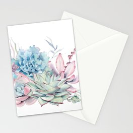 Pretty Pastel Succulents Stationery Cards
