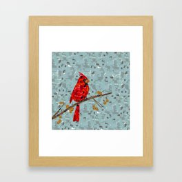 Red Cardinal Collage Framed Art Print