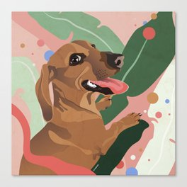 Dachshund puppy with palm leaves in bold colors Canvas Print