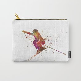 Woman skier skiing jumping 03 in watercolor Carry-All Pouch
