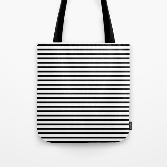 White Black Stripe Minimalist Tote Bag