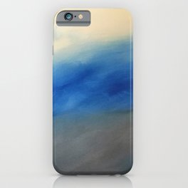 Skyline Ocean Beach Summer Original Painting by Jodi Tomer Blue Gray iPhone Case