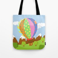 baloon Tote Bags featuring BALOON (AERIAL VEHICLES) by Alapapaju