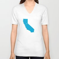 california V-neck T-shirts featuring California by Hunter Ellenbarger