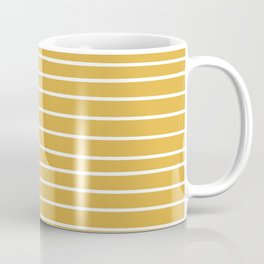 Colorful Stripes, Mustard Yellow and White, Abstract Art Coffee Mug