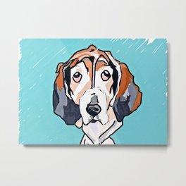 Basset Hound Dog Portrait Metal Print