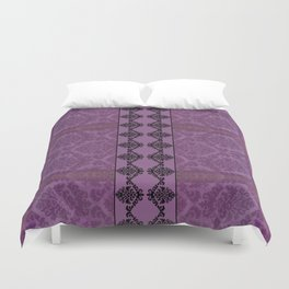 AGED PARCHMENT DAMASK, CUT VELVET in PLUM Duvet Cover