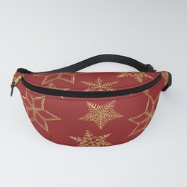 Snowflakes Red And Gold Fanny Pack