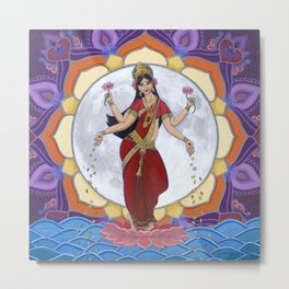 Lakshmi: Dancing by the Light of the Moon Metal Print