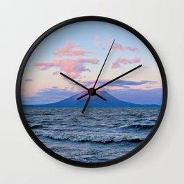 Nicaraguan Volcano at Sunset Wall Clock