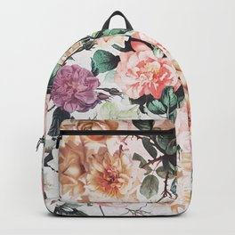Vintage green pink yellow watercolor roses floral Backpack