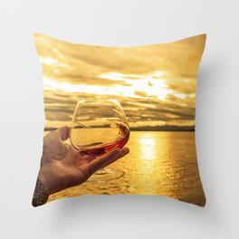 Cognac Sunset Swirl Throw Pillow