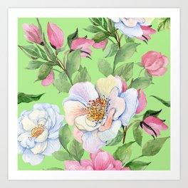 Vintage Floral Pattern: Pink Rose Buds and Elegant Flowers Art Print