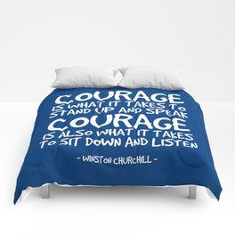 Courage Quote - Winston Churchill Comforters