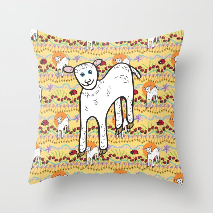 © Little Lamb with ladybugs pattern Throw Pillow