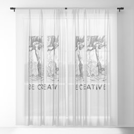 BE CREATIVE - Funny Dachshund Dog Illustration Sheer Curtain