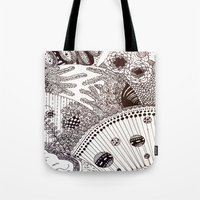 zentangle Tote Bags featuring Zentangle by Marisa Toussaint