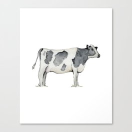 Cow, Watercolor Painting, Rustic Farmhouse Canvas Print