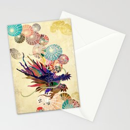 Dragon with unbrellas Stationery Cards