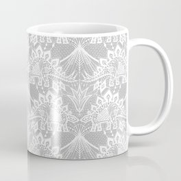 Stegosaurus Lace - White / Silver Coffee Mug