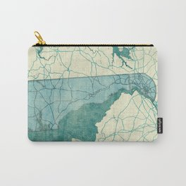 Delaware State Map Blue Vintage Carry-All Pouch