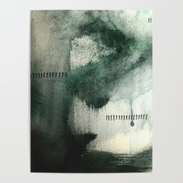 Last Kiss: a minimal, abstract watercolor piece in greens Poster