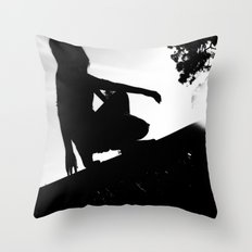 girl on a ledge Throw Pillow