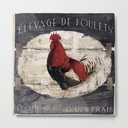 Vintage French Farm Sign Rooster Metal Print