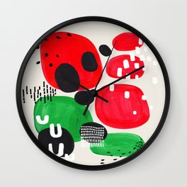 Mid Century Modern Abstract Vintage Colorful Shapes Patterns Watermelon Bubbles Wall Clock