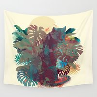 panther Wall Tapestries featuring Panther Square by Ludovic Jacqz
