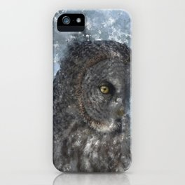 Contemplation - Great Grey Owl Portrait iPhone Case