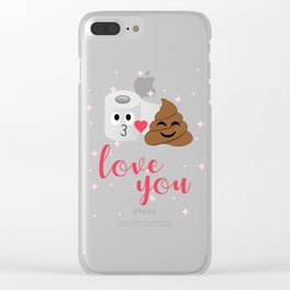 Poop and toilet tissue couple in romantic mood Clear iPhone Case