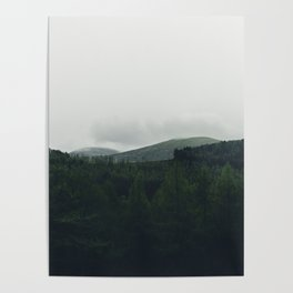 Mountains in the cloudy distance Poster