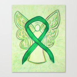 Green Awareness Ribbon Angel Art Painting Canvas Print