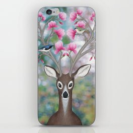 white tailed deer, black throated blue warblers, & magnolia blossoms iPhone Skin