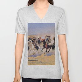 A Dash for the Timber Frederic Remington Unisex V-Neck