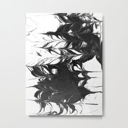 Suminagashi 2 black and white marble spilled ink ocean swirl watercolor painting Metal Print