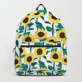 Sunny Sunflowers - White Backpack