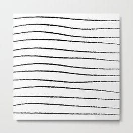 Hand Drawn Horizontal Stripes Metal Print