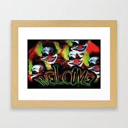 creepy halloween horror clown welcome Framed Art Print