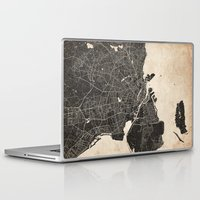 copenhagen Laptop & iPad Skins featuring copenhagen map ink lines by NJ-Illustrations