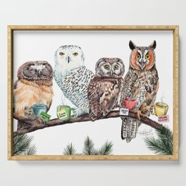 Tea owls , funny owl tea time painting by Holly Simental Serving Tray